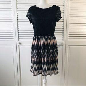 LOVE REIGN Black Floral Top Sleeveless Dress, L